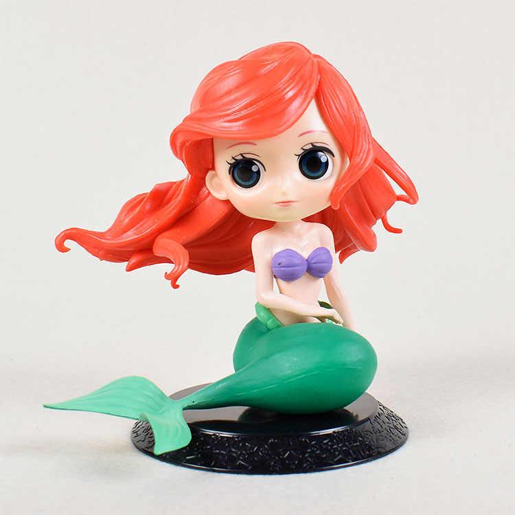 Q Posket Karakter Putri Duyung Kecil Ariel Salju Putih Gambar Boneka Cantik Mainan Kue Topper Kue Dekorasi Pesta Ulang Tahun