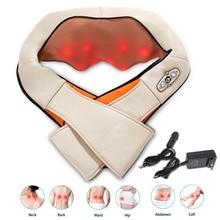 цена на Electrical Shiatsu Massager Back & Cervical Neck Shoulder Massager Body Infrared 3D Kneading Massage Manual Heat Roller Device