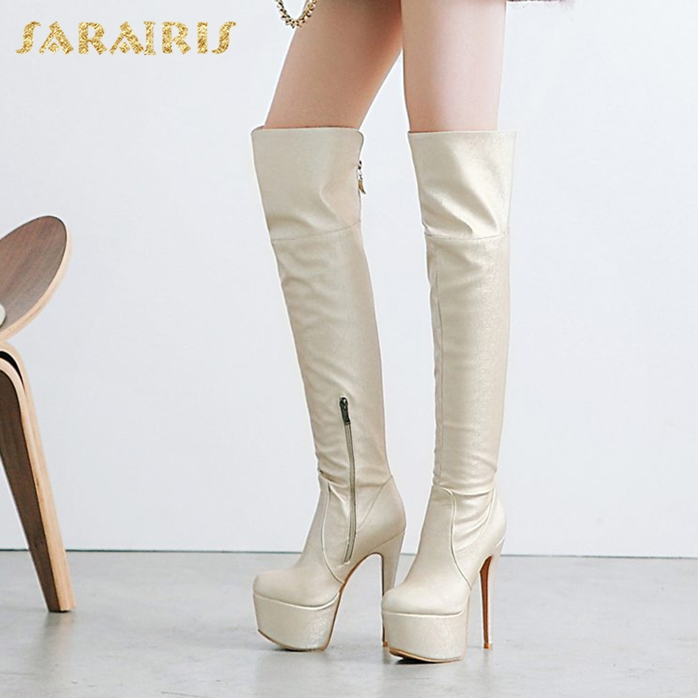 SARAIRIS Brand new Plus Size 33-48 Thin High Heels Platform Boots Woman Shoes Zip Up Over The Knee Boots Party Long Booties memunia big size 34 43 over the knee boots for women fashion shoes woman party pu platform boots zip high heels boots female
