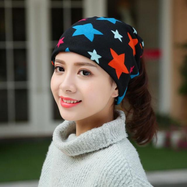 Girl Scarf Hats Pattern Star Love Heart Casual Beanies For Women