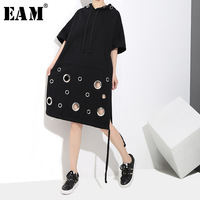 EAM 2018 New Spring Summer Hooded Long Short Sleeve Black Hollow Out Bandage Big Size
