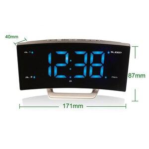 LED radio fm z zegarkiem cyfrowym budziki elektroniczny zegarek z lusterkiem biurowym Smart z oświetleniem do sypialni biurowej duży wyświetlacz