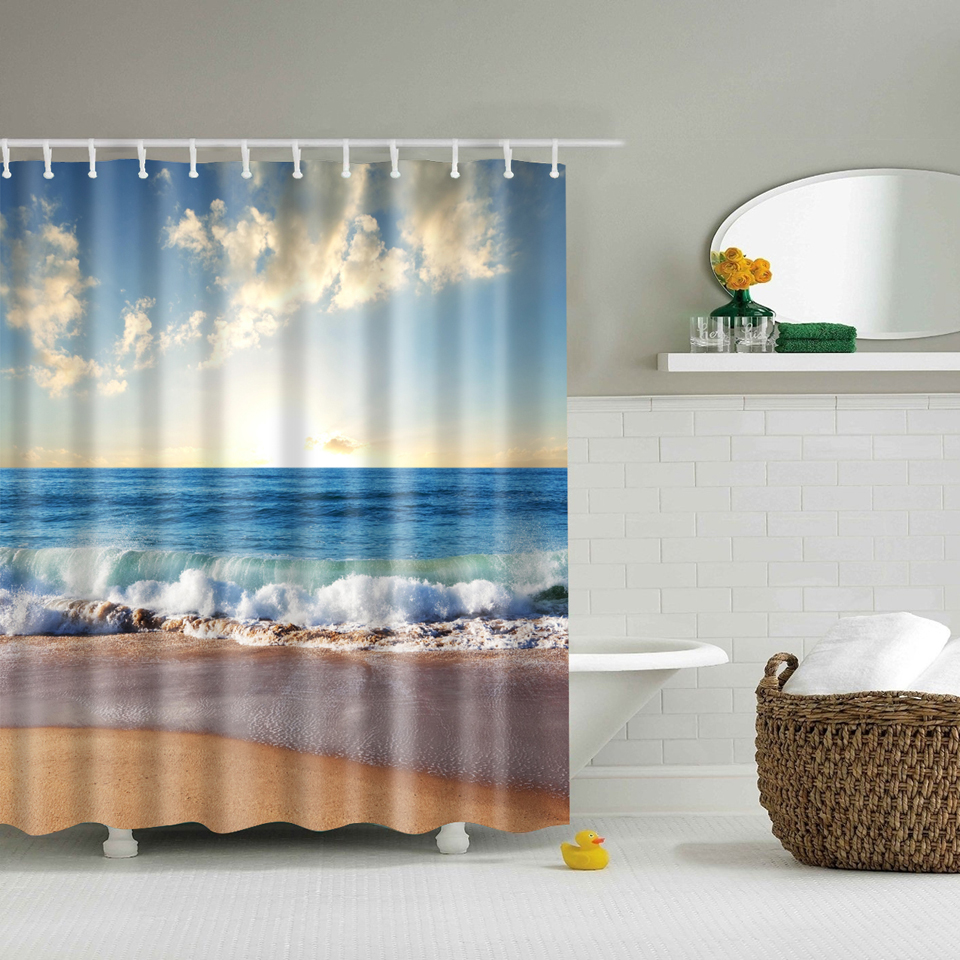 Svetanya Seaside Scenery Print Shower Curtains Bath Products Bathroom Decor With Hooks Waterproof 71x71