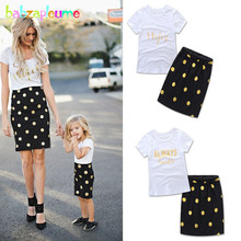 babzapleume Summer Mother And Daughter Clothes Matching Outfits Baby Girls Clothes T-shirt+Dot Skirt Family Clothing Sets BC1428