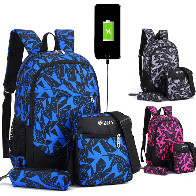 Waterproof Oxford School Backpack USB Charge Design Backpack Schoolbag Male Backpack for Teenagers School Bags Composite Bag