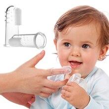 Детская зубная щетка для ухода за зубами, силиконовая кисть для пальцев, прозрачный массажный Мягкий прорезыватель без коробки для зубов для маленьких мальчиков и девочек