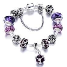 Vintage Silver Plated Crystal Charm Bracelet