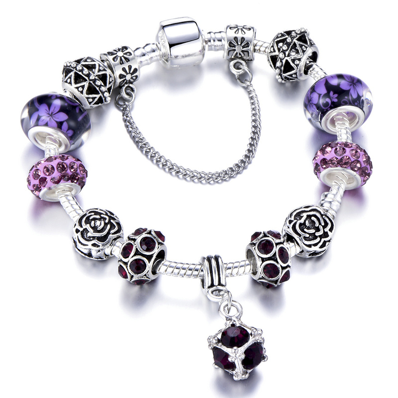 SPINNER gaya Eropah vintaj perak bersalut gelang pesona kristal wanita sesuai asli diy pandora gelang perhiasan hadiah