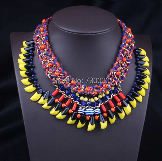 Autumn Newest Z.A handcraft colorful rope chain necklaces resin beads pendants  for women 2014 fashion Jewelry top quality