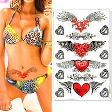 M-Theory Angel Wings Love Heart Flash Tattoos 17x10cm Temporary Tatoos Body Art Swimsuit Bikini Dress Makeup