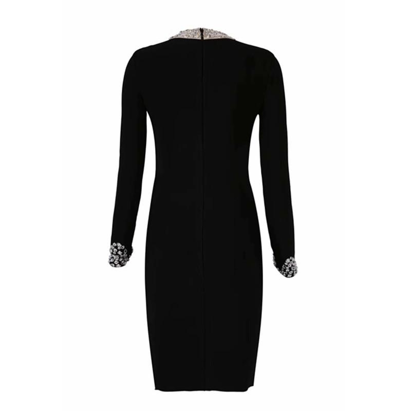 O Longues Robe Sexy Manches Élégant Celebrity Lacée Noir 2019 Cou Nouveau Perles Maille En Gros Solide Automne De À Femmes Split wIS8qcY