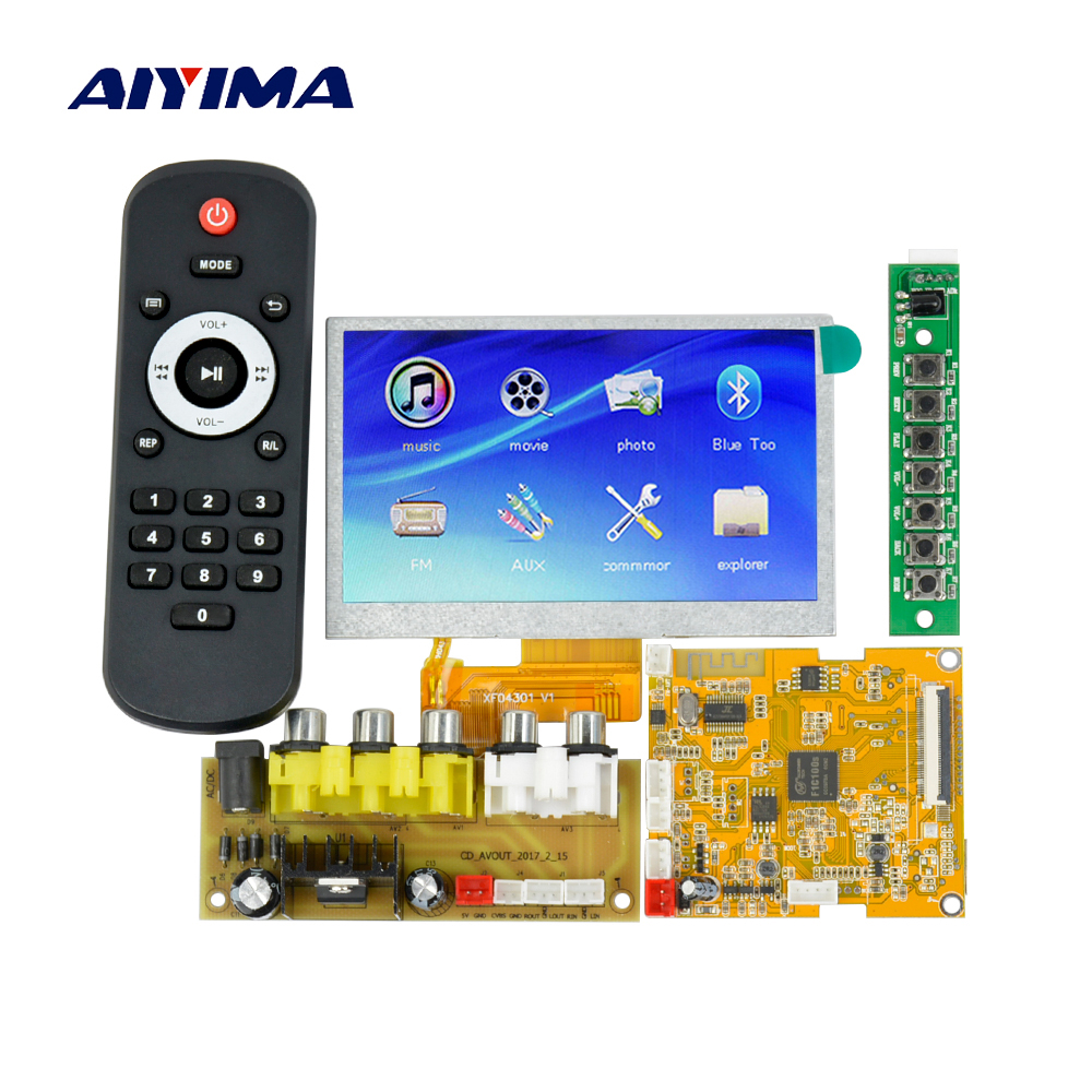 Aiyima 4.3Inch LCD Lossless Bluetooth Decoder Board DTS FLAC APE AC3 WAV MP3 Decoder Board Decode Board DC9-12V цена