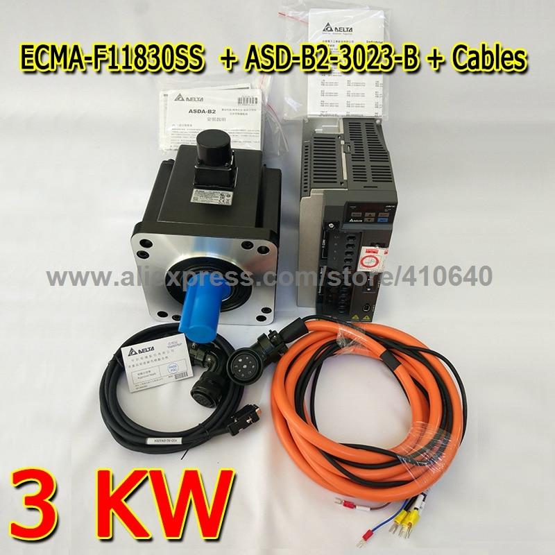 цена на Genuine Delta AC Servo Motor 3 KW ECMA-F11830SS with Brake and Delta AC Servo Motor Drive ASD-B2-3023-B with Full Set of Cable