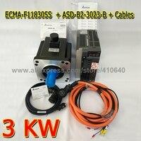 Genuine Delta AC Servo Motor 3 KW ECMA F11830SS with Brake and Delta AC Servo Motor Drive ASD B2 3023 B with Full Set of Cable