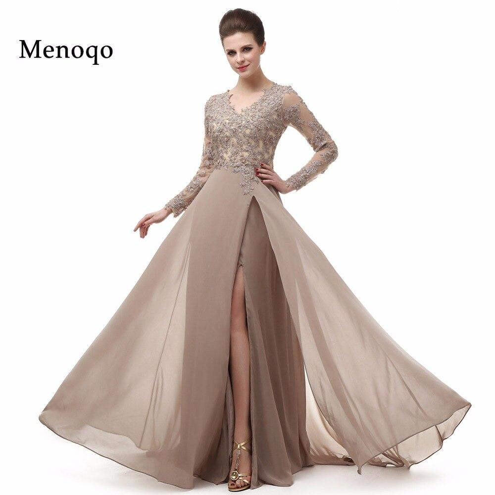 Real Photo Elegant Long Sleeve A Line V Neck Chiffon Lace Beaded Long Evening Dresses 2019 Robe De Soiree Manche Longue 122416W