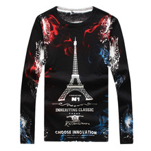 Men's Luxury Casual Sweater Men Slim Long-sleeved Sweater Male Top LEFT ROM S-4XL 2017 New Hot The romantic Paris tower