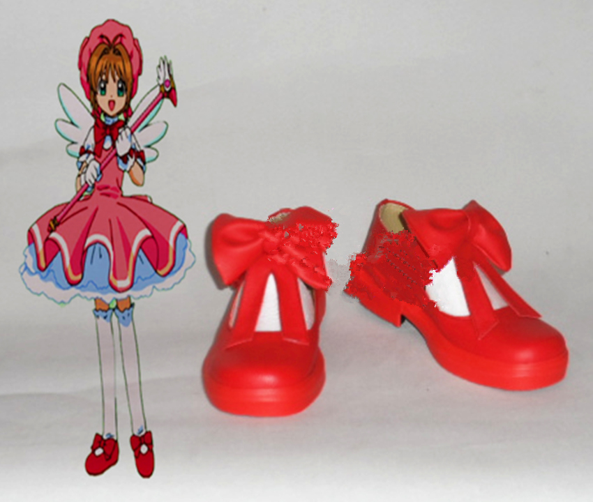 New Card Captor Sakura SAKURA CARDCAPTOR cosplay <font><b>lolita</b></font> miku <font><b>red</b></font> <font><b>shoes</b></font> boots customzied image