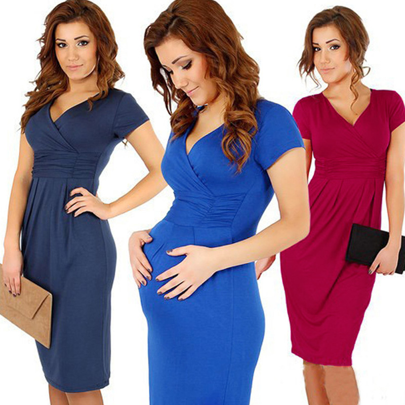 ce4b472a0a3 2018 Fashional ProcessCotton V Neck Short Sleeve Pencil skirt Summer V neck  Pregnant Dress Meternity Women s Dress Plus Size-in Dresses from Mother    Kids ...