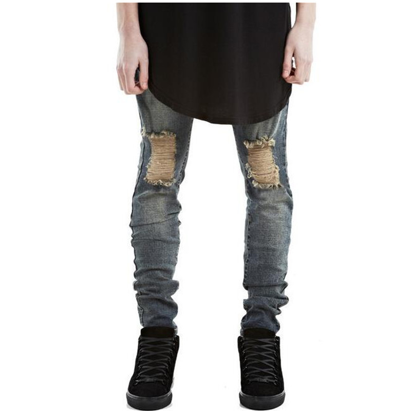 Fashion Men Torn Jeans Pants Famous Brand Designer Ripped Denim Joggers For Man Slim Fit Straight Distressed Jean Trousers LQ031 2017 fashion patch jeans men slim straight denim jeans ripped trousers new famous brand biker jeans logo mens zipper jeans 604
