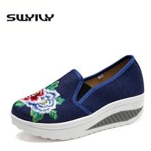 Καμβά αναπνεύσιμων λουλουδιών κεντημένα γυναικεία παπούτσια τόνωση 2017 φθινοπωρινές κνήμες Ύψος αυξημένη απώλεια βάρους παπούτσια Swing