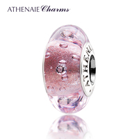 ATHENAIE Genuine Murano Glass 925 Silver Core Effervescence Clear CZ Charm Bead Fit All European Bracelets