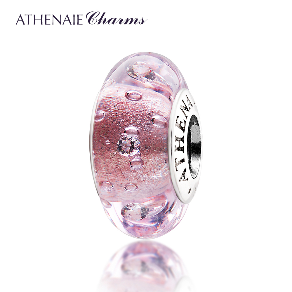 ATHENAIE Genuine Murano Glass 925 Silver Core Effervescence Clear CZ Charm Bead Fit All European Bracelets Color Pink