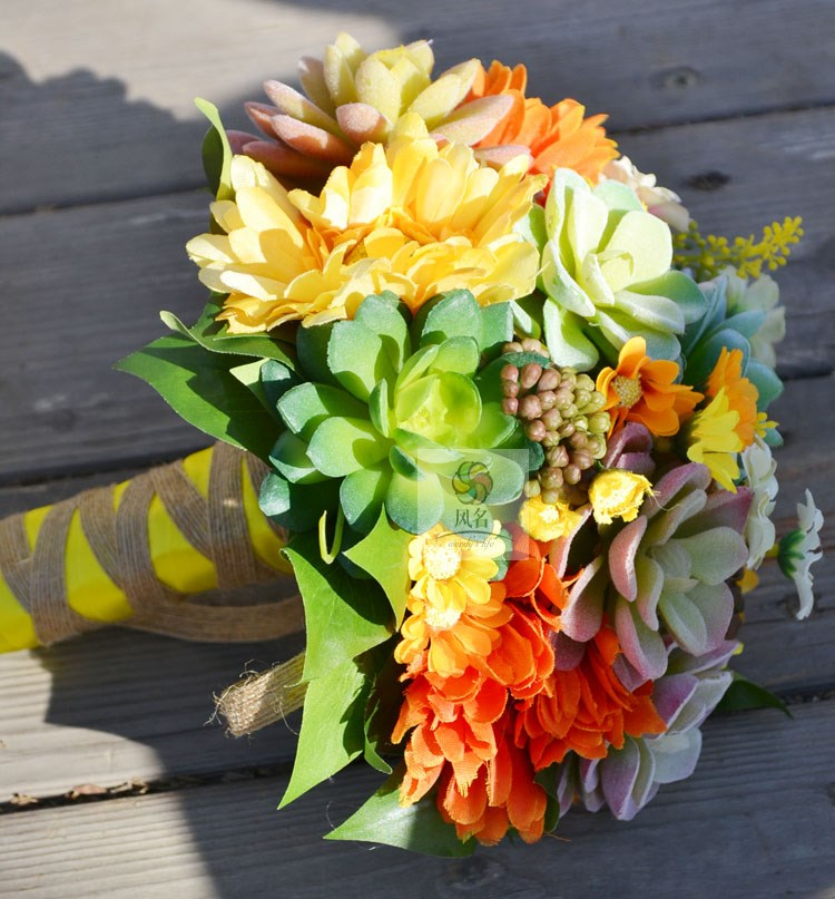 Fatti a mano Mazzi di Fiori Reale di Tocco Fiori Artificiali piante Succulente Forniture di Nozze della Damigella D'onore Nuziale Bouquet Decorazione Della Casa - 5