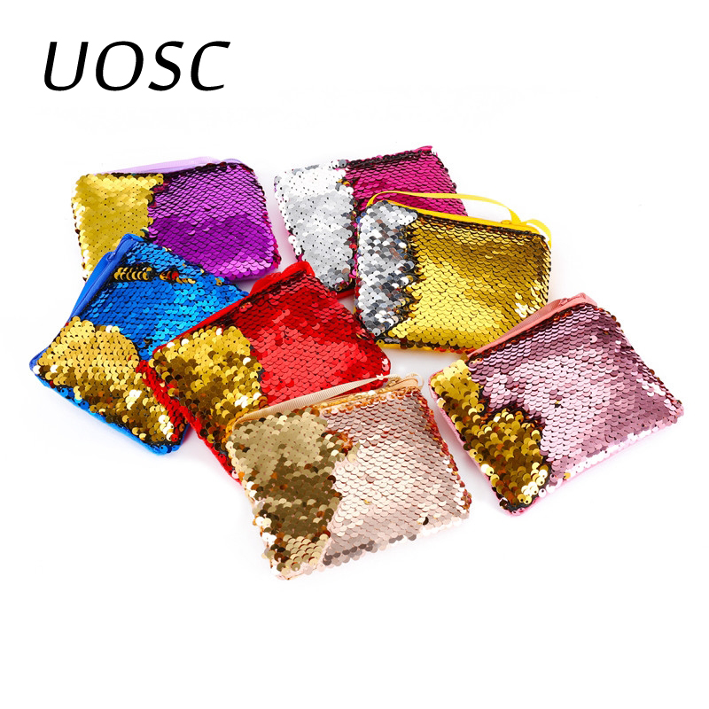 UOSC 2019 New Fashion Children Coin Purse Mini Paillette Coins Wallet Mermaid Sequins Money Bags Cartoon Change Wallets Kid Gift