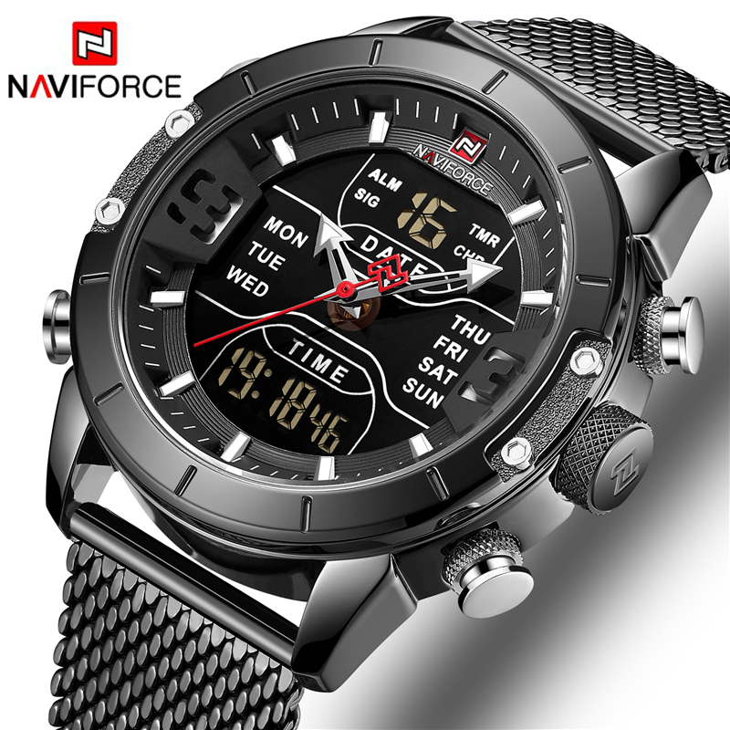 NAVIFORCE Top marque montre de luxe hommes mode sport montre à Quartz hommes plein acier LED étanche montres numériques Relogio Masculino