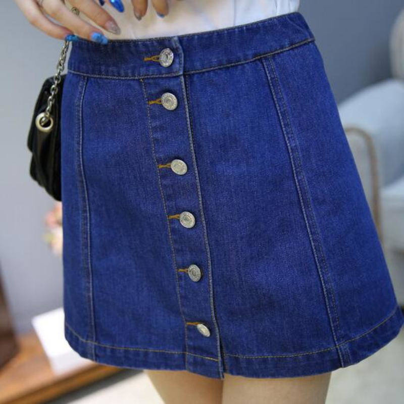 new 2016 a line denim skirt high waisted skirt with
