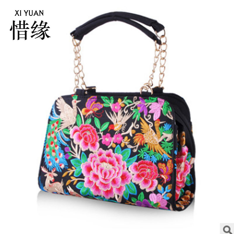 XIYUAN BRAND Chinese ethnic minority style floral embroidered vintage shell handbag, female fish embroidered shoulder bag red plus size floral embroidered drop shoulder sweater