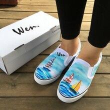 Вэнь оригинальный пользовательский Дизайн парусная лодка навигация на океан ручной росписью обувь унисекс белый скольжения на холст кроссовки