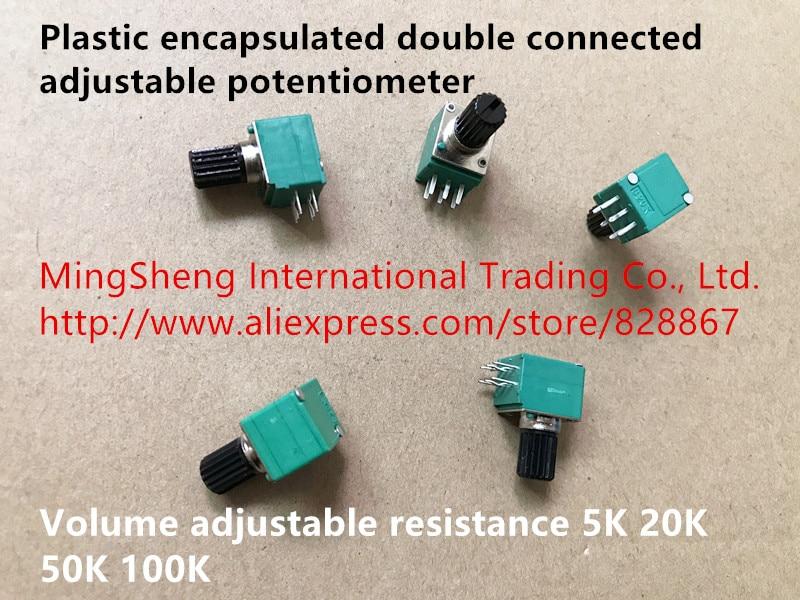 Оригинальный новый пластиковый инкапсулированный двойной подключенный регулируемый потенциометр Регулировка громкости сопротивление 5K ...
