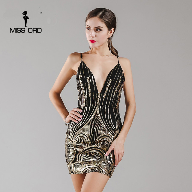 missord 2018 sexy sleeveless deep v retro sequin dress backless christmas party dress ft4965