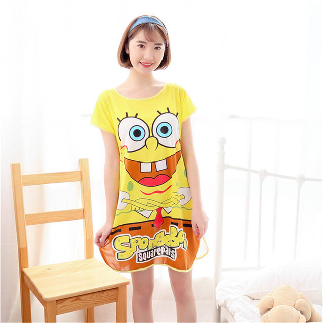 Mulheres Verão Camisola Coelho Bonito Dos Desenhos Animados Urso Panda Porco Padrão de Manga Curta Camisola Solta Camisa Do Sono Sleepwear Homedress