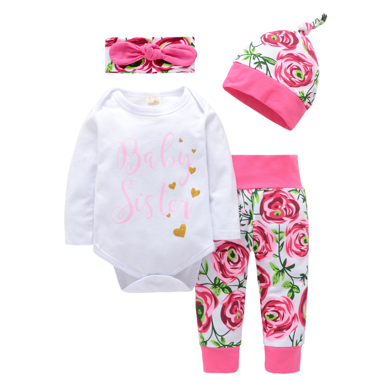 4 Pieces Newborn Baby girls clothing Baby Sister Printed Romper + Rose Pants + Hat Infant Toddle Girl Baby Fashion