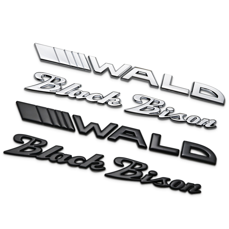 1Pcs 3D Metal WALD Black Bison Car Side Fender Rear Trunk Emblem Badge Sticker Decals for Universal Cars Moto Bike Decorative 3d metal auto car performance badge decal fender emblem for trd sports racing
