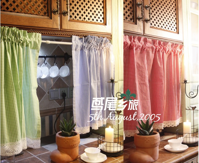 1pcs 3 Colors Kitchen Window Curtains Plaid Coffee Curtain Half Cabinet Cotton Lace Home Decoration Free Shipping