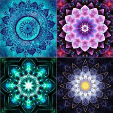 4 Pack 5D DIY Full Diamond Flower Embroidery Paintings Decorating Cabinet Table Stickers Rhinestone Home Decor