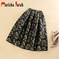 Nuevas Faldas de La Vendimia de Cintura Alta Work Wear Midi Faldas Moda Jacquard Bordado Flores Falda Plisada Saias Jupe Femme