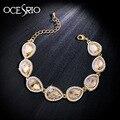 Marca de Luxo Banhado A Ouro Pulseiras para As Mulheres de cristal elo da cadeia pulseiras bangles pulseira femme bijoux azul jóias brt-j71