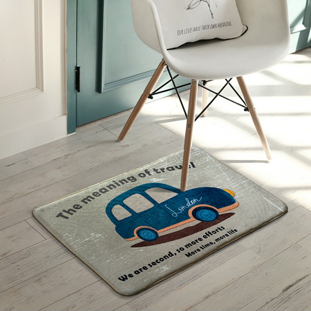 Cartoon Meaning Of Travel Car Printed Mats Thickness Bedroom Door Pad Kitchen Anti Slip Rugs