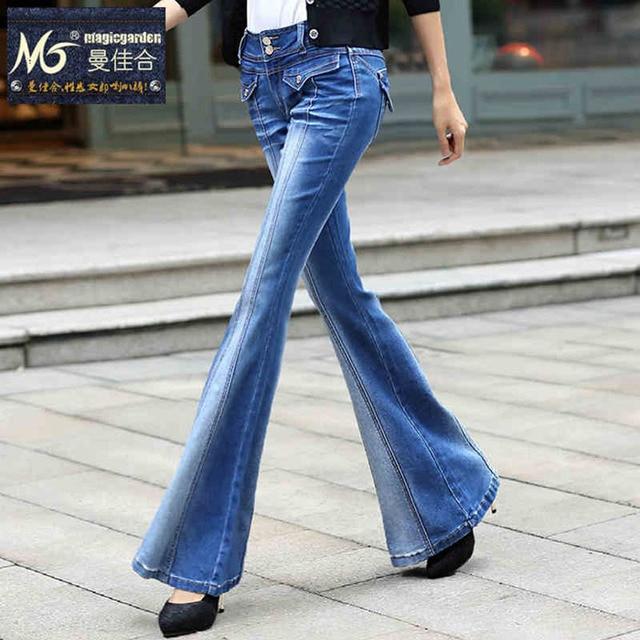 e4a4acf452c283 2016 Donne della Molla Denim Flares Jeans A zampa d'elefante Pantalone  Gamba Larga Aperto