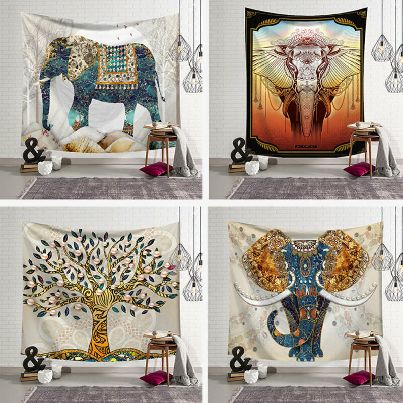 Elephant Oil Painting Tapestry 5 Style Bohemian Elephant Tapestry Indian Wall Hanging Print Bedspread Throw Home Decor