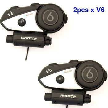 Vimoto English Version Easy Rider 2PCS V6 Multi-functional 2Way Radio BT Interphone Motorcycle Helmet Bluetooth Intercom Headset
