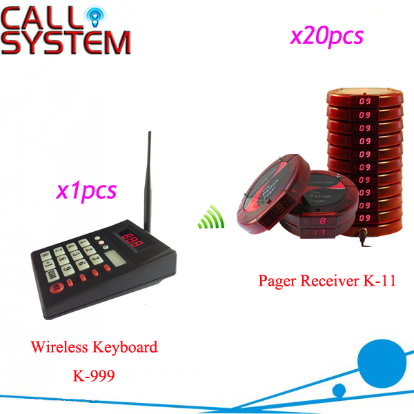 Wireless Fast food Service Equipment Restaurant Guest paging system coaster pagers 1 keyboard with 20 receivers wireless buzzer calling system new good fashion restaurant guest caller paging equipment 1 display 7 call button