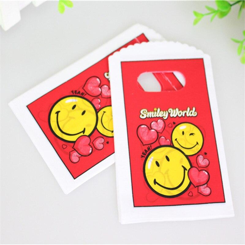 Hot Sale New Design Good Quality Wholesale 50pcs/lot 9*15cm Smile Face Mini Plastic Shopping Bags with Handle