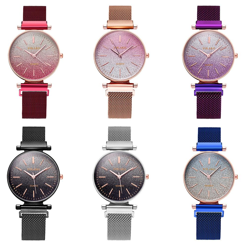Women Fashion Simple Quartz Watches Luxury Top Brand Gradient Starry Sky Magnetic Watch Ladies Casual Purple Water Wrist Watches in Women 39 s Watches from Watches