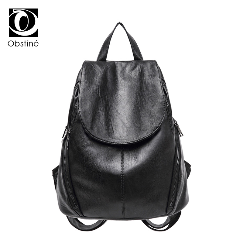 pu leather fashion women backpack for girls feminine shoulder bag female black womens backpacks large school