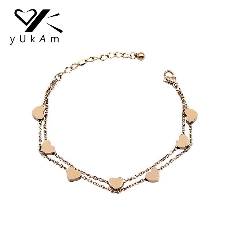 YUKAM מזל נירוסטה קטן אהבת לב קסם צמידי שכבה כפולה שרשרת קישור צמידי צמיד לנשים כסף עלה זהב